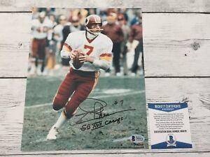 Joe Theismann Signed Autographed Washington Redskins 8x10 Photo Beckett BAS COA
