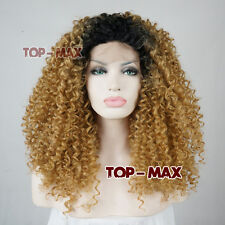 24'' Schwarz Mixed Braun Lang Welling Haar Daily Cosplay Perücke Lace Front Wig