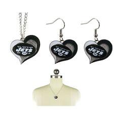 New NFL New York Jets Swirl Heart Necklace & Earring 3pcs Set Jewelry
