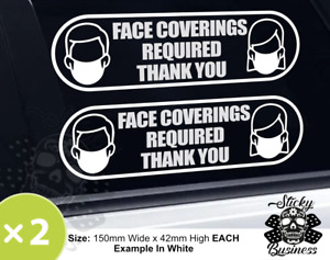Face Covering Mask Required Sticker Restaurant Shop Window Taxi Stickers COLOURS