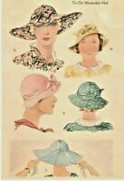 Vintage Women's McCall 1930's Fabric Hats, Reproduction Sewing Pattern # 289