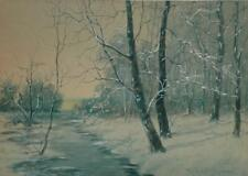 Vintage Watercolor and Gouache Winter Landscape by NJ Artist Raphael Senseman