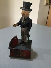 Cast Iron US Uncle Sam Patriotic Midcentury VINTAGE Replica Mechanical Coin Bank