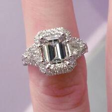 4.9 ct G VS2/SI1 emerald cut diamond 3 stone antique halo handmade ring 18k gold