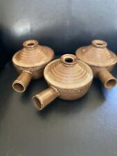 🔵Vintage Stoneware Soup Bowls w/ Lids Pottery Brown With Specks Lot Of 3 Nice!