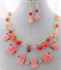 Layered Pink And Red Stone Necklace Set Gold Fashion Jewelry New