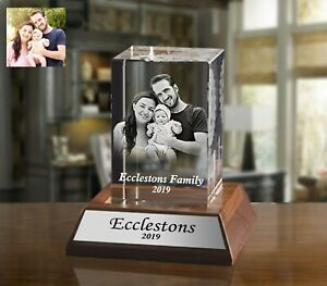 Personalised Laser Engraved Crystal Paperweight with Wooden Base Occasion Gift
