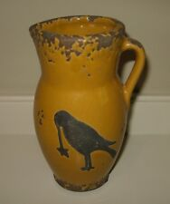 Sunflower Yellow Pottery PITCHER/Vase*Black CROW*Primitive/French Country Decor