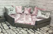 PERSONALISED GREY CORNER PET BED WITH PINK AND SILVER BED & 7 CUSHIONS VELVET