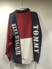 RARE Tommy Hilfiger Flag Long Sleeve Rugby Red Mens Size Large Vintage BIG LOGO