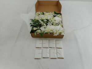 Ling's moment Set of 8 Flowers with Drapery (Italian Ruscus+White Flowers)