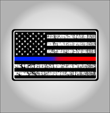 Police & Fire Blue Red Thin Line Tattered American Flag Decal EMS EMT Sticker