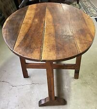Antique French Country Walnut Tilt-Top Oval Wine Tasting Table | Side Table