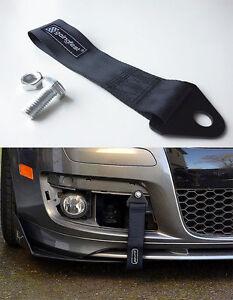 Universal Racing Sport Tow Hook Strap Band High Strength Heavy Duty Loop Black -