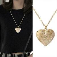 Gold Herz Foto Bilderrahmen Medaillon Anhänger Kette Schmuck Gesc Halskette X5E6