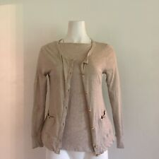 J. Crew Womens Twinset S Small Painter Tee Top Cardigan Beige Gold Button