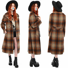 Vtg 60s 70s Wool SHADOW PLAID Peacoat Princess Trench Coat Grunge Mod Jacket L