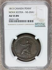 1813 Canada Nova Scotia Trade & Navigation Penny Token NS-20A1 - NGC AU 55 BN