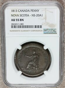 1813 Canada Nova Scotia Trade & Navigation Penny Token NS-20A1 - NGC AU 55 BN
