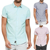 Threadbare Men's New Simon Short Sleeve Plain Summer Shirt Bright Light