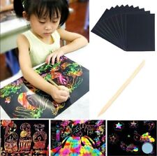New 10 Sheets Scratch Art Paper Book Magic Painting Paper Drawing Stick For Kids