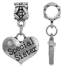 "1PC European Charm Dangle Beads Fit Pendants Silver Tone Heart ""Sister"" Gift"