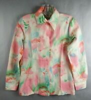 1960's 1970's Vintage Sears Blouse top Long Sleeve Size 8 Polyester