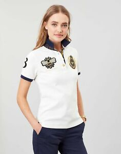 Joules Womens Claredon Ladies Polo Shirt - Cream - 10