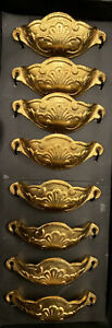 NEW Set of 8 Ornate Victorian Apothecary Cabinet Pulls - Gold / Brass Finish