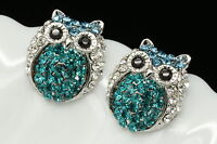 unique sparkly prom party black eye owl blue Austrian crystal stud earrings T16