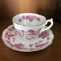 Vintage Coalport Tea  Cup and Saucer Pink Flowers Birds Antique Mid Century NICE
