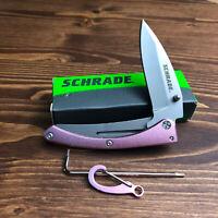 Schrade Pocket Protector Pink Anodized Aluminum Handle Framelock Knife 222P