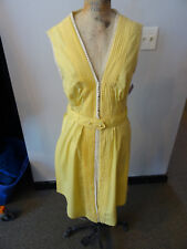 1960's Yellow Swiss Dots Long Open-Sided Vest with Pin-tuck Accents