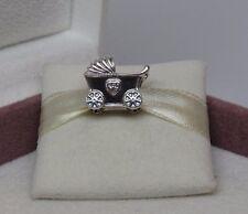 New w/Hinged Box Pandora Baby's Pram Sterling Silver Charm 792102CZ Baby Birth