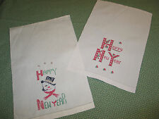 Pr Antique Vtg Hand Embroidery Linen Guest-Kitchen Towel Happy New Year-Snowman