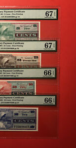661-4 SERIES MILITARY PAYMENT CERTIFICATE (5,10,25&50 C)GRADED BY PMG 66-67 EPQ.