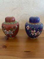 Pair Antique Chinese  Bronze Cloisonne Floral Ginger Jar set