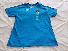 NWT HANES Boy's M 8 Blue Short Sleeve Cotton Poly Comfort Blend Wicks Shirt