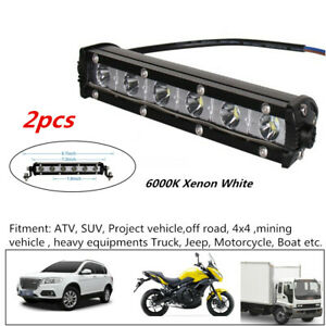 2x 6000K Xenon White Ultra Thin Single Row LED Spot Work Light Bar Off-Road Lamp
