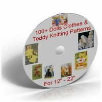 100+ Fashion Dolls Clothes & Teddy Knitting Patterns Collection CD, 12-22 inch