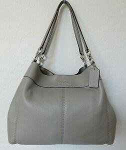 Coach Lexy Shoulder Bag Gray Leather Tote Handbag F57545 MINT!