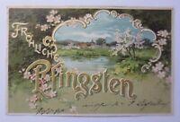 """""""Pfingsten, Landschaft, Jugendstil"""" 1902, Prägekarte ♥ (50033)"""