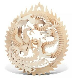 """3D Wood Puzzle - Lucky Dragon and Phoenix - Model Kit Large 12""""x4""""x15"""" NEW"""
