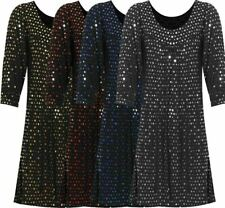Womens Spot Sequin Polka Dot Party Top Ladies 3/4 Sleeve Scoop Neck Swing Dress