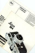 LEITZ WETZLAR Prospekt LEICA M4 NOCTILUX 1/50mm Broschüre Kamera Objektive (Y488