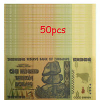 50pcs Zimbabwe $100 Trillion Dollars Gold Banknote Set For Collection +COA