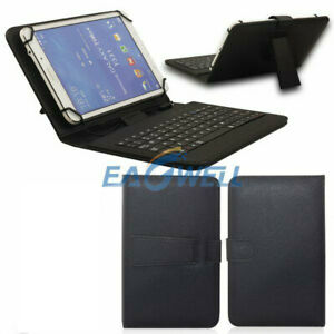 """US For ONN Surf 7"""" Android Tablet Universal Leather Stand Case w/ Wired Keyboard"""