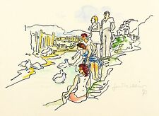 GERHARD KETTNER - Junge Leute am Flussufer - Federzeichnung & Aquarell 1973