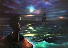 Art Print by Alex Kerr, Mermaid, Moonlight,Nautical, Painting, Gift,Wall Art, A3