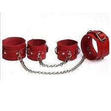 Red Faux Leather Bondage Kit Fetish Hand Wrist Ankle Cuffs long chain Restraint